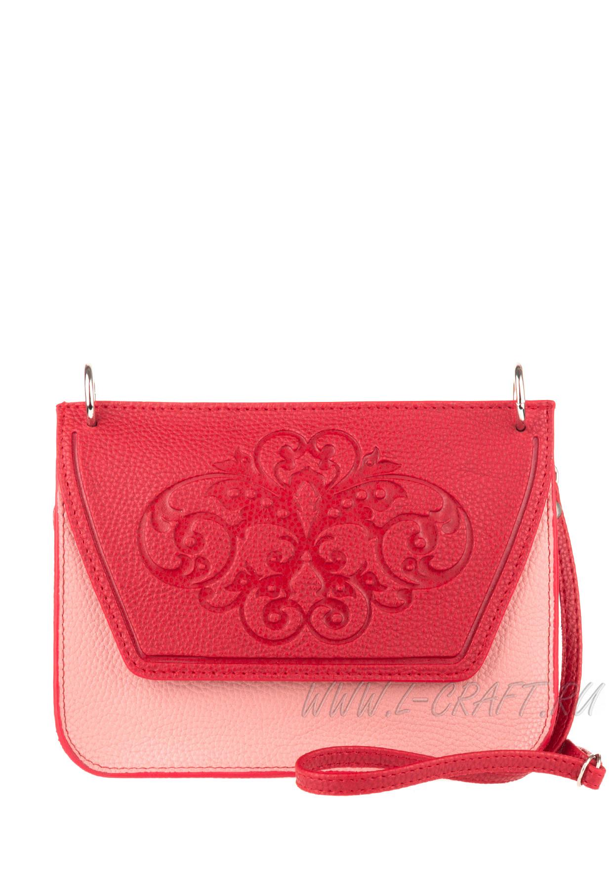Модель №V135 | кожзам | гладкий тиснение | красный розовый | Р775-13 | 2576